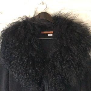 Mongolian lamb collar Maxi sweater
